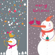 Cartoon Christmas cards with funny snowman — Stock Vector #25358657