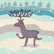 Cartoon deer under snowfall — Stock Vector