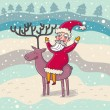 Cartoon Santa on his deer — Stock Vector