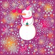 Cartoon snowman on colorful winter holiday background — Stock Vector