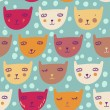 Funny cartoon cats. Children's seamless pattern — Stock Vector