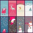 8 cartoon Christmas banners — Stock Vector