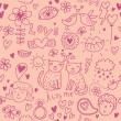 Romantic cartoon seamless pattern in pink — ベクター素材ストック