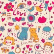 Vector de stock : Colorful romantic seamless pattern