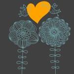 Bird in love on flowers — Stock Vector