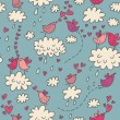Stock Vector: Birds in love! Cartoon seamless pattern