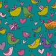 Colorful birds in love. Cartoon seamless pattern — Imagens vectoriais em stock