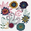 Cartoon flower vector set - Stock Vector