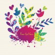 Colorful floral background with butterflies, birds and hearts — Stok Vektör
