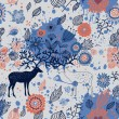 Floral seamless pattern with cartoon deers in vector - Stock Vector