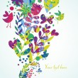 Colorful floral background with butterflies, birds and hearts — Image vectorielle
