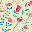 Floral seamless pattern with cartoon cats — Grafika wektorowa