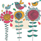 Colorful cartoon birds on flowers — Stock Vector