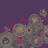 Stylowy ładny tle kwiatów z ptaków — Wektor stockowy