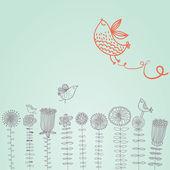 花の上の漫画の鳥 — ストックベクタ