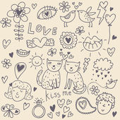 Seamless pattern cartoon romantico — Vettoriale Stock