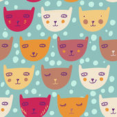 Funny cartoon cats. Children's seamless pattern — Vector de stock