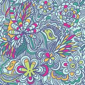 Modello di cartone animato floreale luminoso senza soluzione di continuità in bei colori. uccelli carini in fiori — Vettoriale Stock