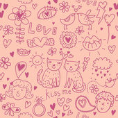 Romantic cartoon seamless pattern in pink — Stock Vector