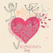 Dibujos animados chico y chica. día de san valentín romántico ilustración — Vector de stock