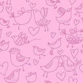 Ptaki kreskówki. wzór w kolorze różowym — Wektor stockowy