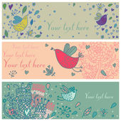 Cartoon floral banners — Stockvector