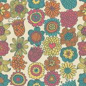 Modello senza saldatura floreale di primavera in colori caldi — Vettoriale Stock
