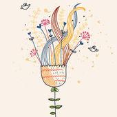 Stylish cartoon flower composition — Stock Vector