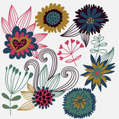 Cartoon flower vector set — Stock Vector