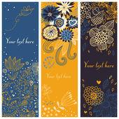 Carton floral banners — Stock Vector