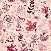 Romantic seamless pattern with birds in retro style — ストックベクタ