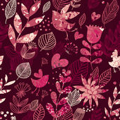 Floral seamless pattern with hearts and birds in pink — Stock Vector