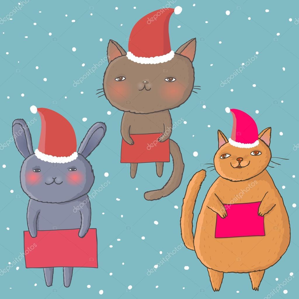Dibujos animados de gatos Navidad \u2014 Vector de stock 25358741