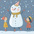 Kids with a funny Snowman — Stock Vector
