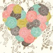 Stylish heart made of flowers in vector. Beautiful romantic card. — Stockvektor