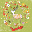 Nice floral background with cute cartoon deer. Natural wallpaper in vector — Stock Vector