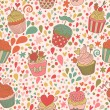 Sweet concept seamless pattern. Tasty background made of cupcakes. Seamless pattern can be used for wallpaper, pattern fills, web page backgrounds, surface textures. — Imagens vectoriais em stock