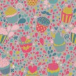 Sweet concept seamless pattern. Tasty background made of cupcakes. Seamless pattern can be used for wallpaper, pattern fills, web page backgrounds, surface textures. — Stock Vector