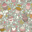 Sweet concept seamless pattern. Tasty background made of cupcakes. Seamless pattern can be used for wallpaper, pattern fills, web page backgrounds, surface textures. — Stock Vector #25360323