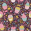Sweet concept seamless pattern. Tasty background made of cupcakes. Seamless pattern can be used for wallpaper, pattern fills, web page backgrounds, surface textures. — Grafika wektorowa
