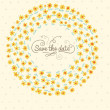 Stylish save the date card. Cute wedding invitation in vector. Floral spring background — Grafika wektorowa