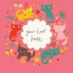 Funny cartoon cats in vector. Bright childish card. Ideal for birthday invitations. — Stock Vector