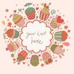 lezzetli kekler arka plan. tatlı karikatür vektör kartı. tatili daveti için harika bir fikir — Stok Vektör