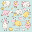 Funny cute sheep. Cartoon vector set in pastel colors. — Stock Vector