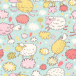 Sheep on clouds - cute cartoon childish seamless pattern in vector. Seamless pattern can be used for wallpaper, pattern fills, web page backgrounds, surface textures. — Stock Vector