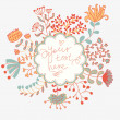 Light floral vector invitation. Natural card in vintage style. — Stock Vector