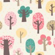 Cute vector pattern with vintage forest.Copy that square to the side and you'll get seamlessly tiling pattern which gives the resulting image the ability to be repeated or tiled without visible seams. — Stockvectorbeeld