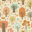 Outdoor concept seamless pattern. Cartoon trees and butterflies in vector background. Seamless pattern can be used for wallpaper, pattern fills, web page backgrounds, surface textures. — Stock Vector