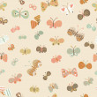 Seamless pattern made of cartoon butterflies. Seamless pattern can be used for wallpaper, pattern fills, web page backgrounds, surface textures. Gorgeous seamless background - Stock Vector