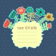 Bright flowers with textbox. Vector element for invitations, banners, cards, web design — Stok Vektör